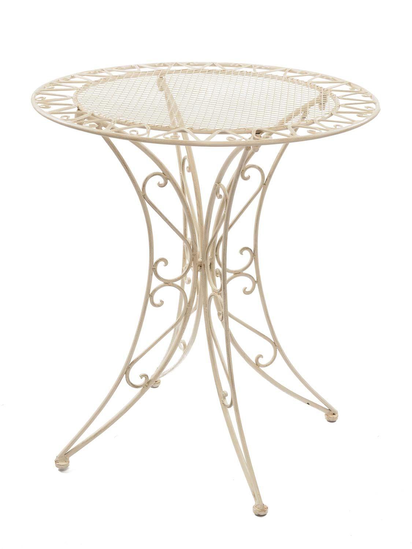 Tisch Gartentisch Bistrotisch 79cm Eisen Garten Antik Stil Creme