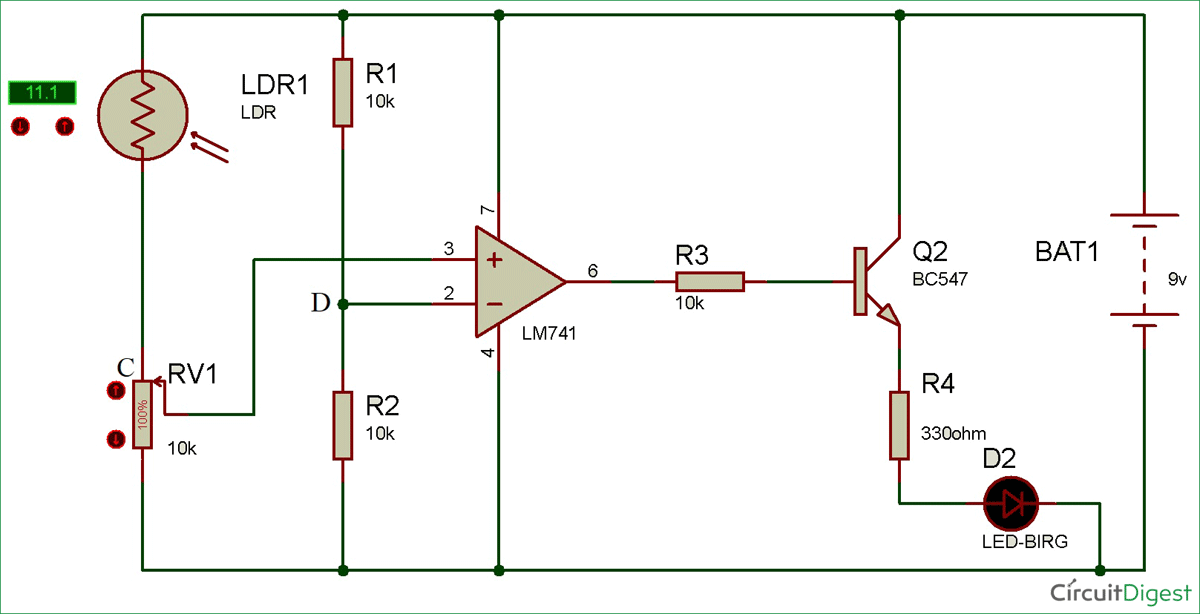 Light Detector Circuit Diagram Using Wheat Stone Bridge Light Detector Electronics Circuit Wheatstone Bridge