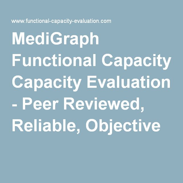 MediGraph Functional Capacity Evaluation - Peer Reviewed, Reliable, Objective