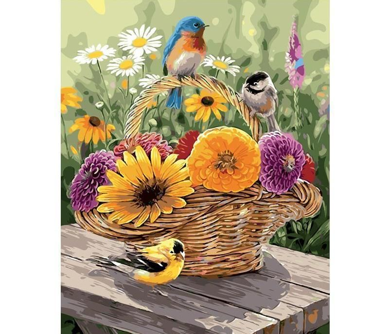 """16x20/"""" DIY Acrylic Paint By Number Painting on Canvas Flowers Vase Fruits Basket"""
