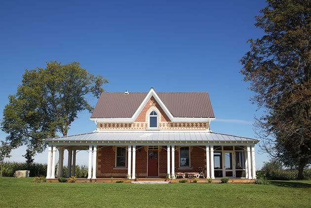 gothic revival farmhouse in ontario with rebuilt 3 sided porch screened area off dining room - Gothic Revival Farmhouse Plans