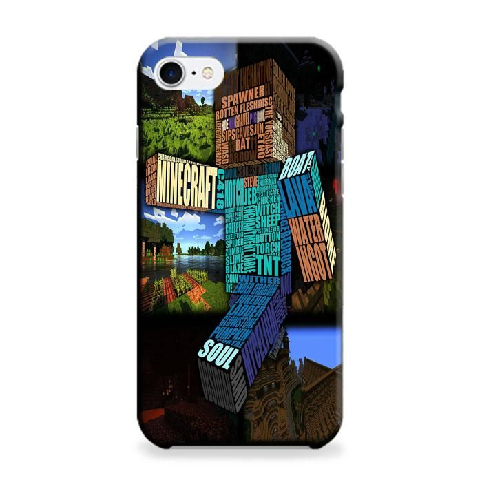 Minecraft Steve Typograpghy iPhone 7 Plus 3D Case