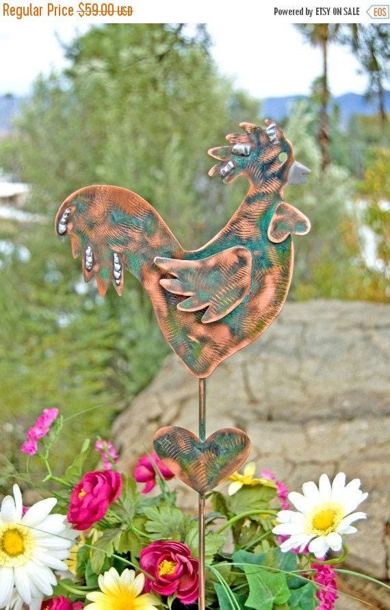 SALE Rooster Decor / Garden Stake / Metal Garden Art / Yard Art / Copper Art