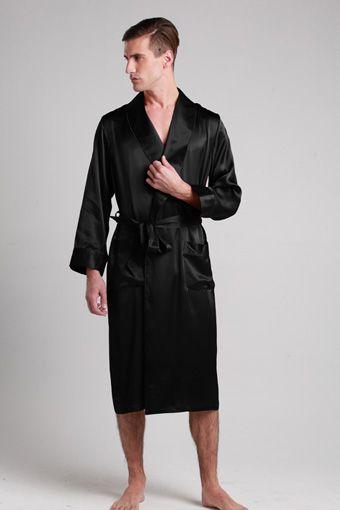 22 Momme Lapel Collar Long Silk Robe Black Silk Robe Silk Robe