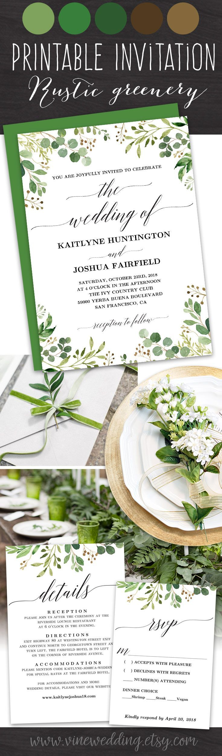 Rustic Greenery Wedding Invitation Printable Greenery Wedding