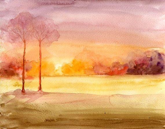 Sunset Landscape-Original watercolor painting 10x8inch-Landscape-Nature art-home decor