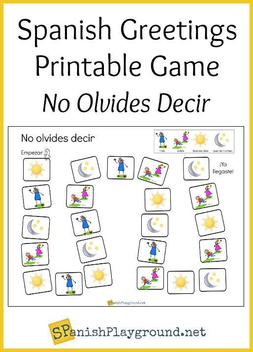 Spanish Greetings Game With Printable Board Spanish