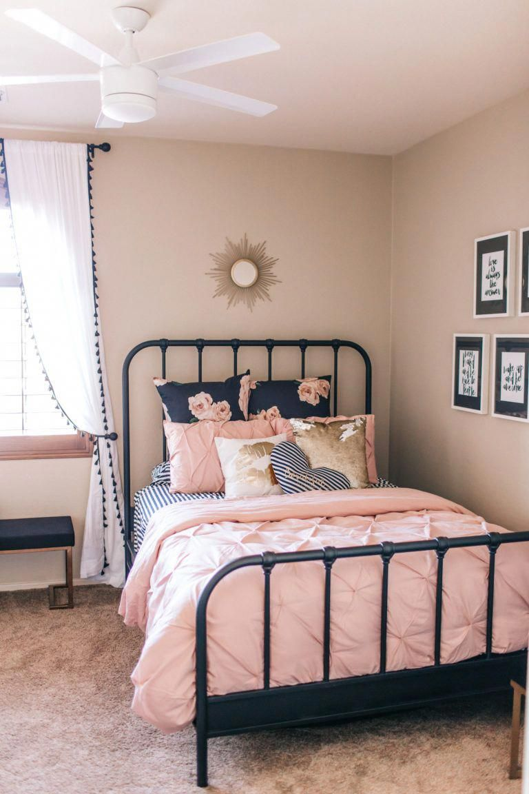 Blush Pink And Black Girls Room With Gold Accents And Florals