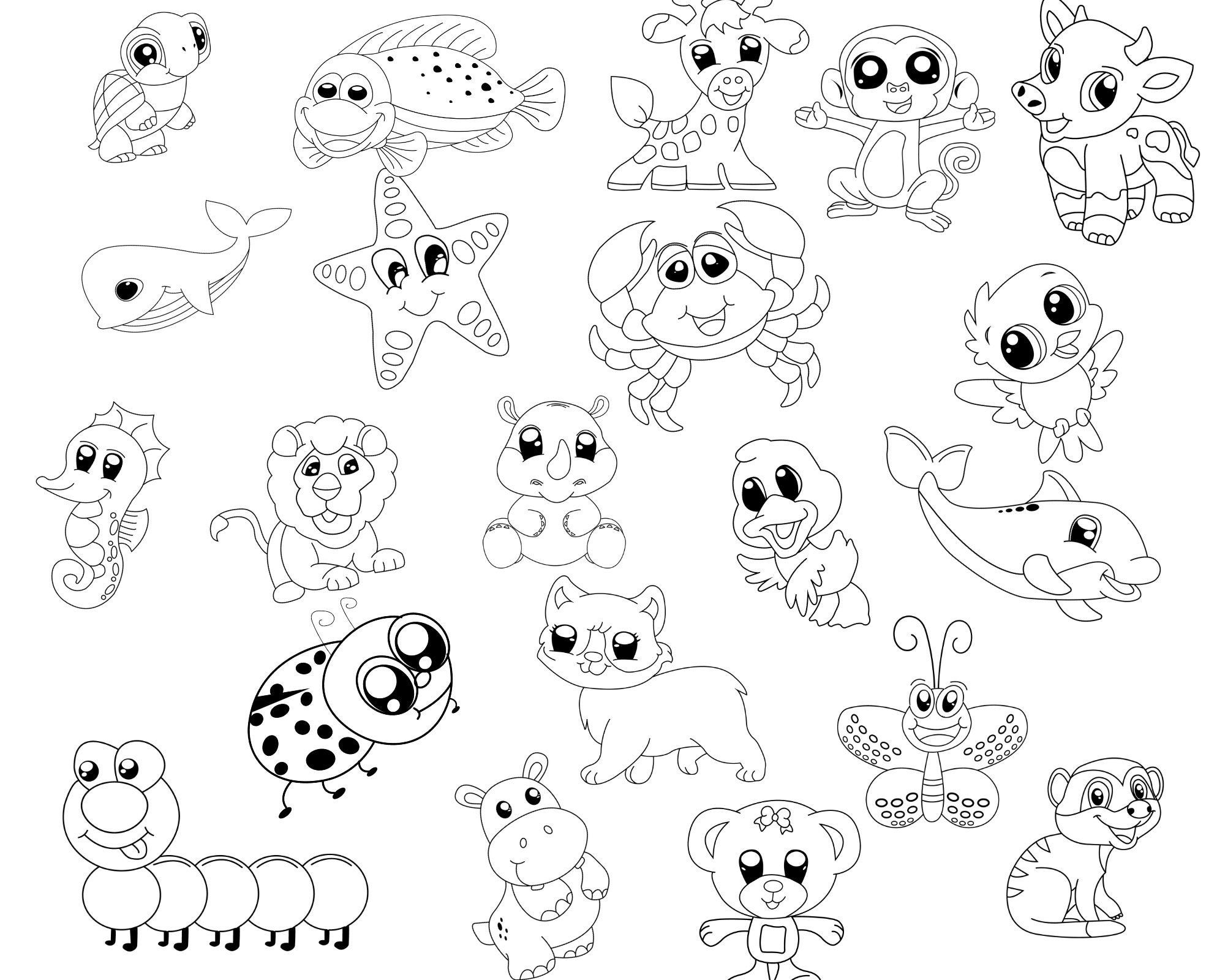 15 Cute Animals Coloring Sheets Pdf For Kids For Instant Etsy Coloring Sheets Printable Art Coloring Books
