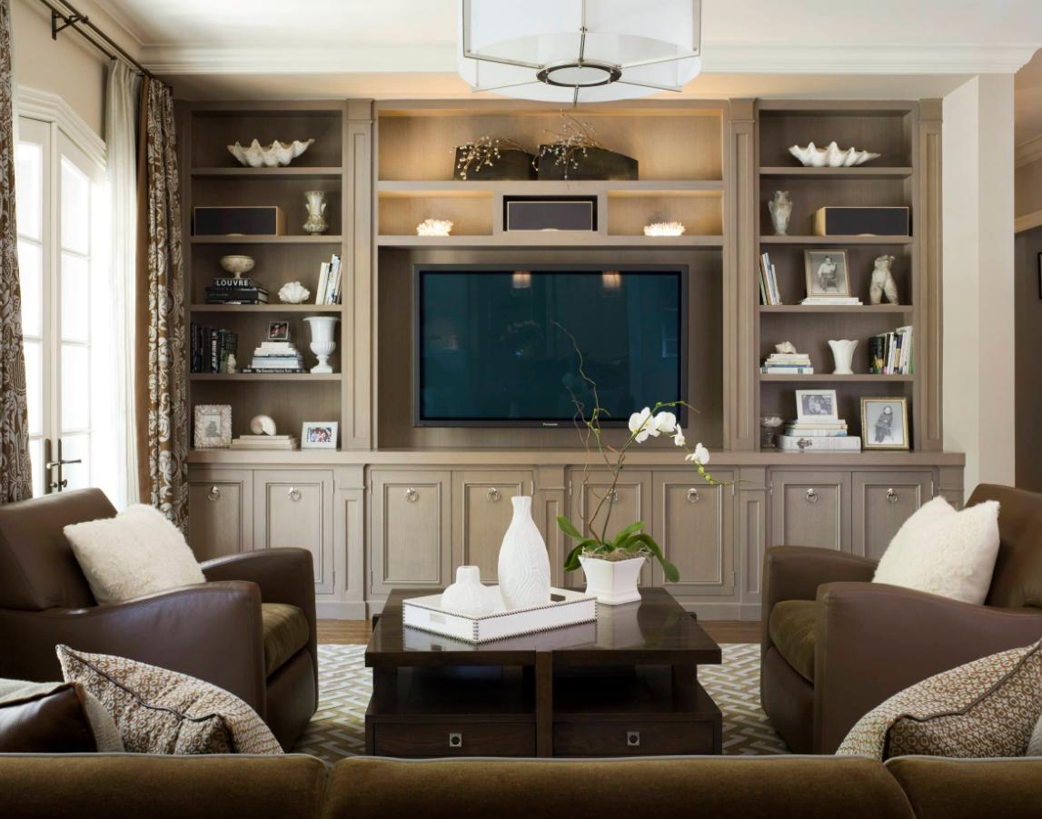 Family Room Media Wall Idea Living Room Built In Cabinets