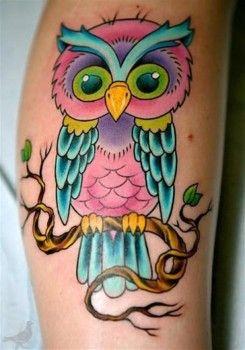 Tatuaje De Búho Multicolor Tatoos Eulen Tattoo Tattoo