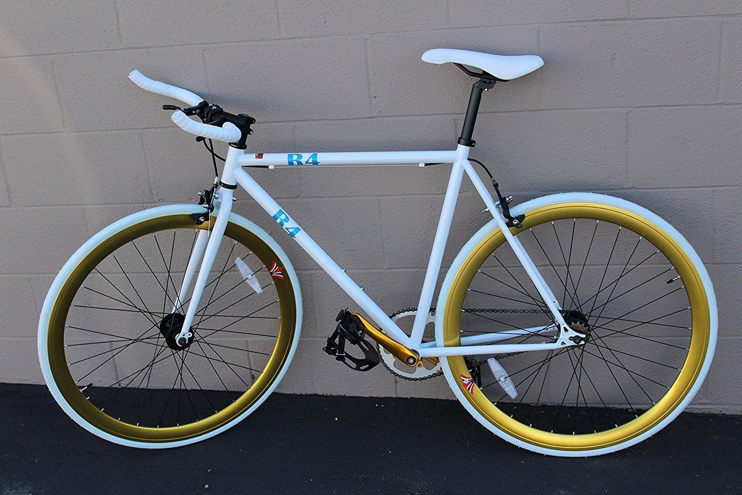 deedb43b7 ON SALE  R4 White   Gold Fixie Urban Road Bike W  Bull Bars
