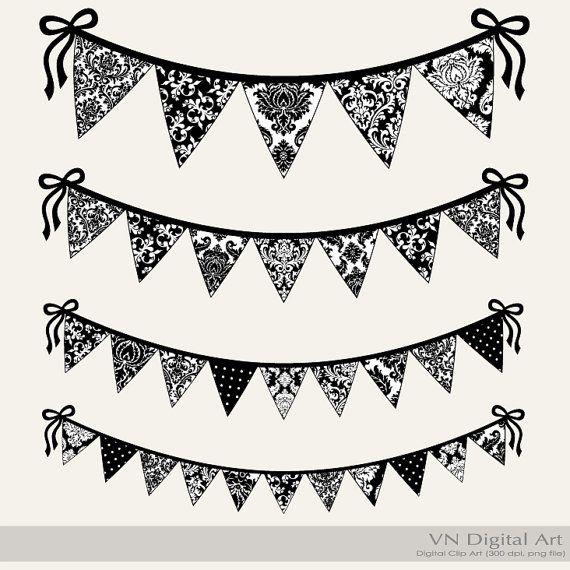 Damask Bunting Banners Clip Arts Black White Instant Download 4 Png Files 456c Banner Clip Art Clip Art Clip Art Borders
