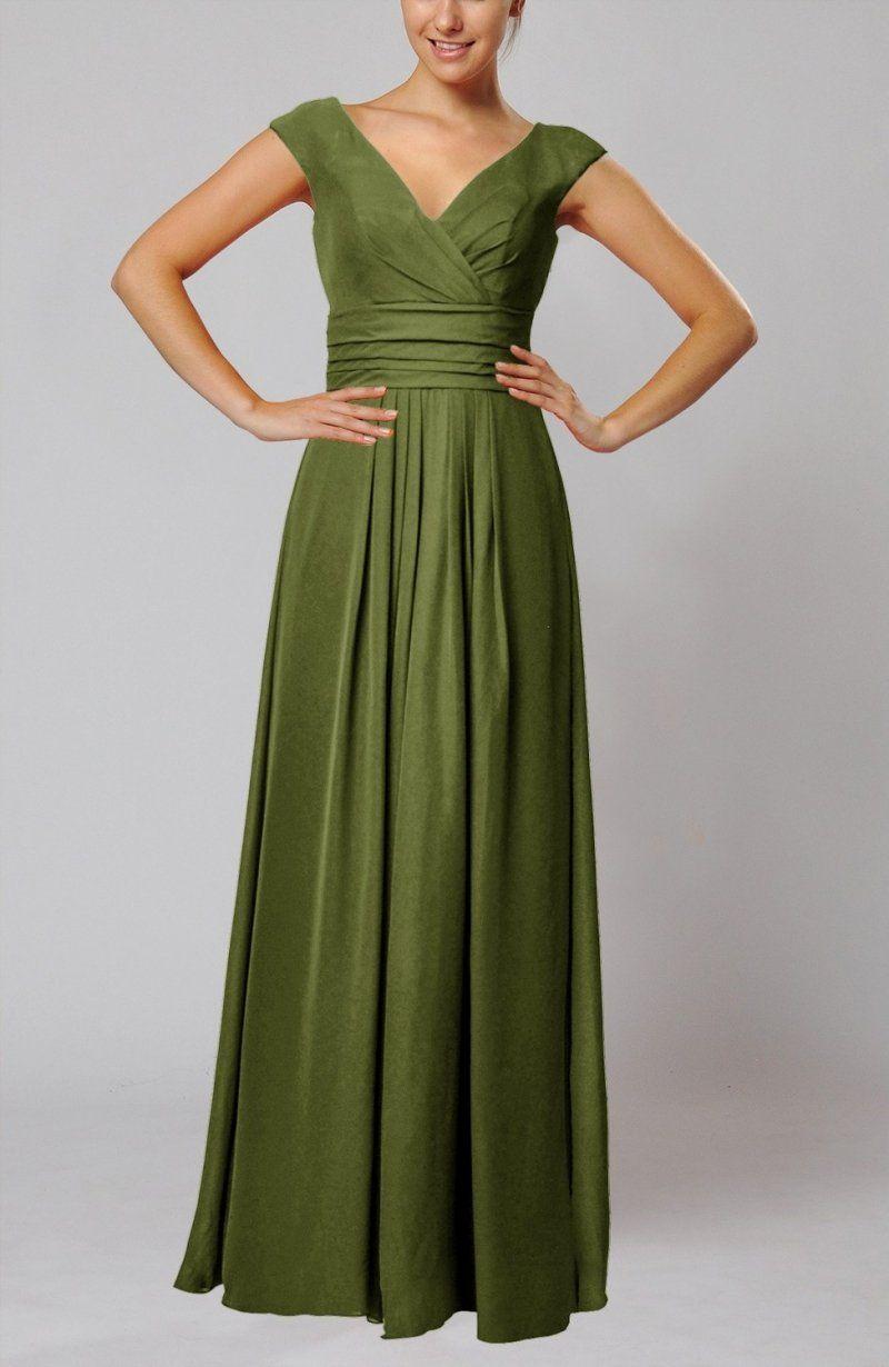 Olive green evening dress simple vneck sleeveless floor length