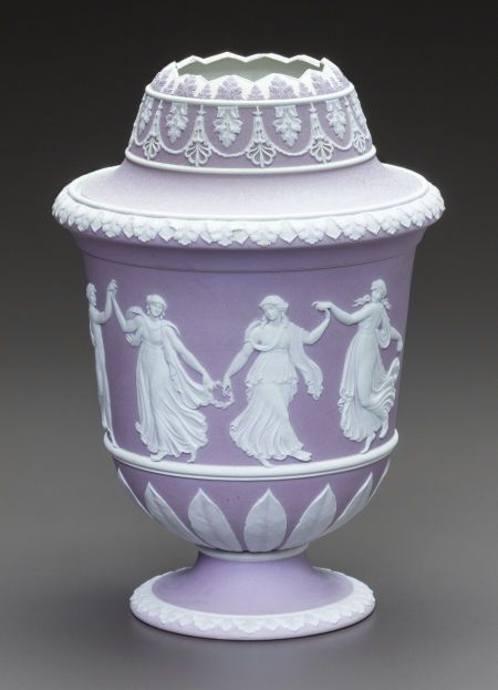 Ceramics & Porcelain, British, A WEDGWOOD LILAC JASPERWARE DOUBLE LIDDED CACHE POT. 20th century.Marks: WEDGWOOD, M, I.