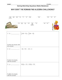 Free Solving Multi Step Equations Riddle Worksheet Geometry