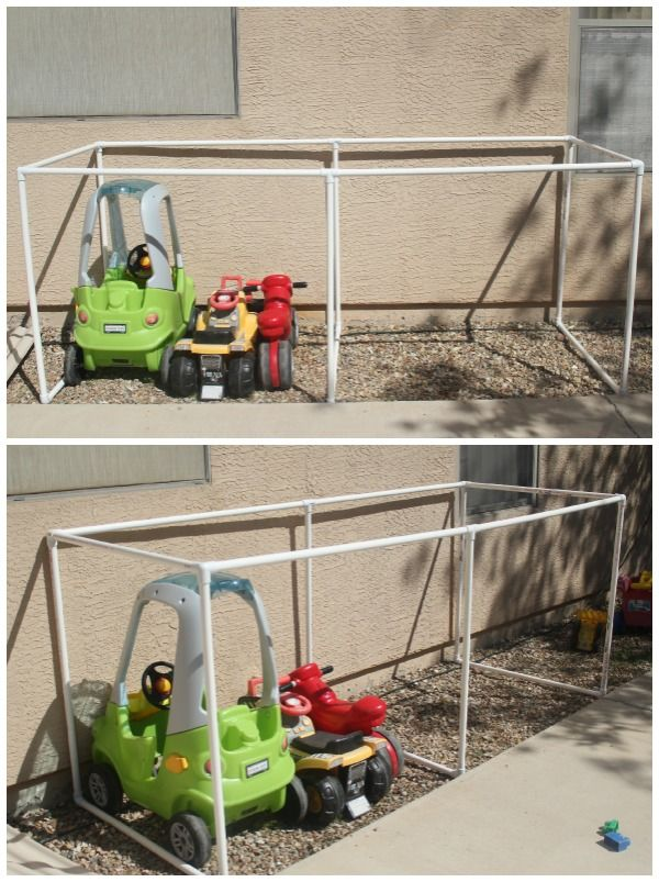 covered kiddie car parking garage outdoor toy organization