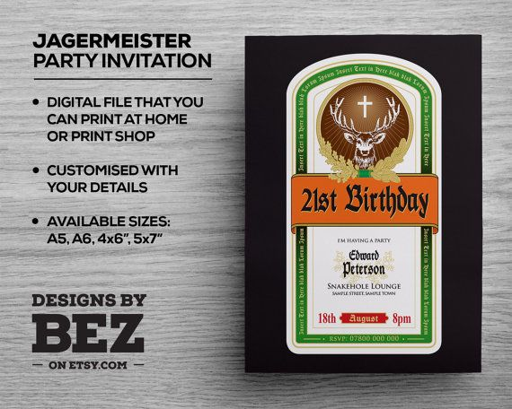 Jagermeister Style Party Invite Personalised invitation for your – Personalised 21st Birthday Invitations