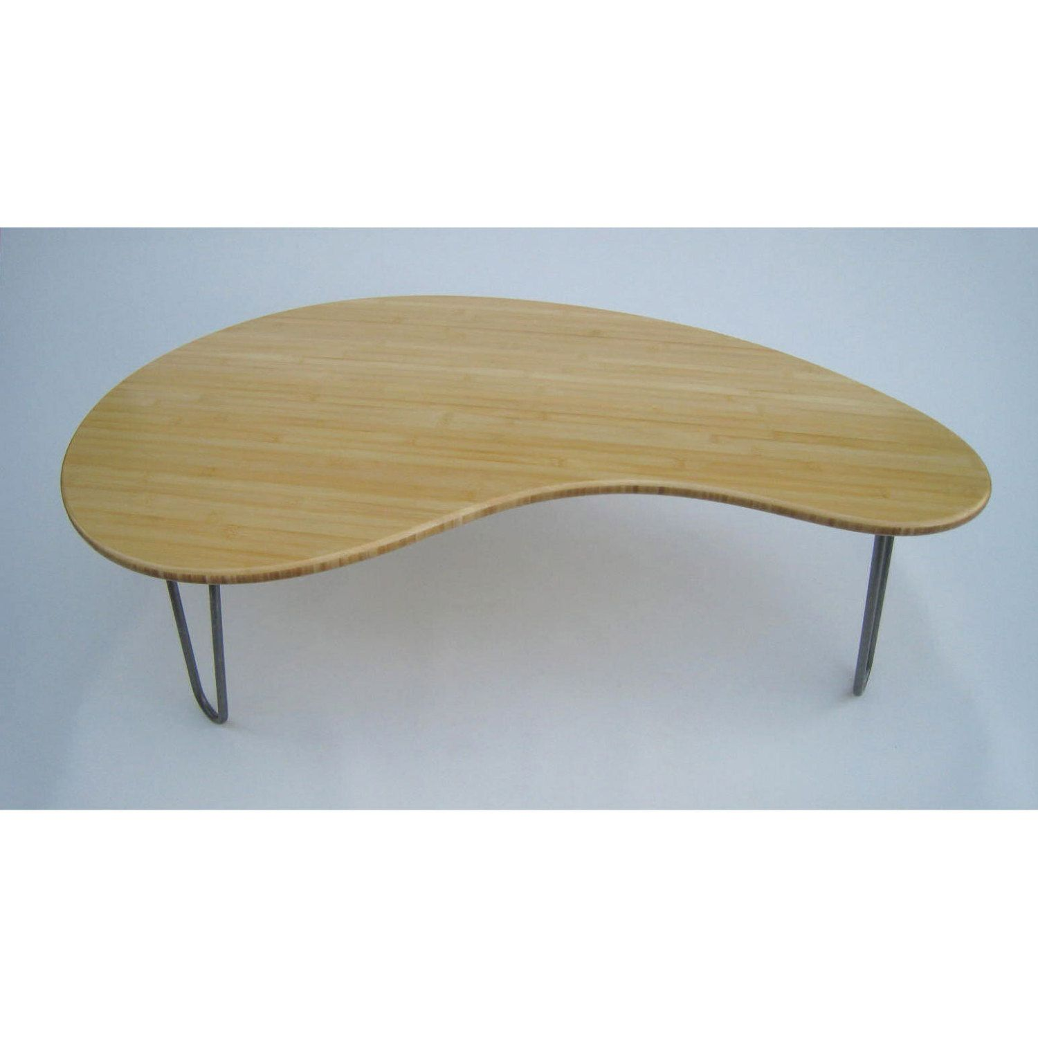 Mid Century Modern Coffee Table Kidney Bean Shaped Amorphic Curves Atomic Era Design In Natural Bamboo By Studio1212furniture On Etsy