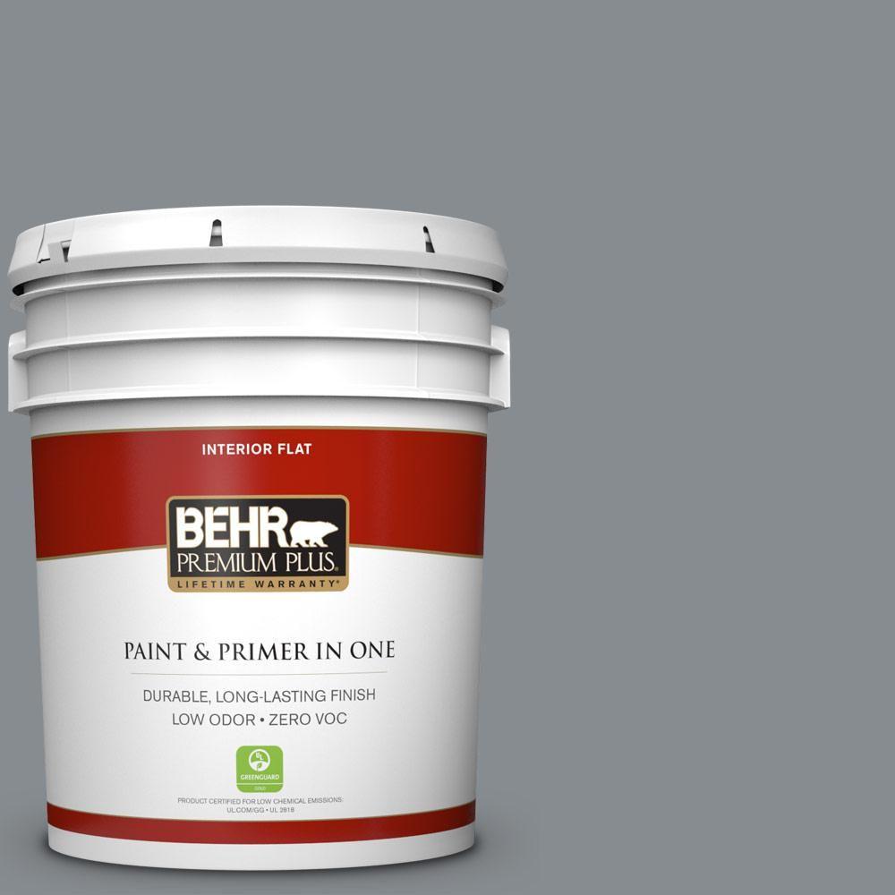 BEHR Premium Plus 5-gal. #pmd-73 Ancient Pewter Zero VOC Flat Interior Paint