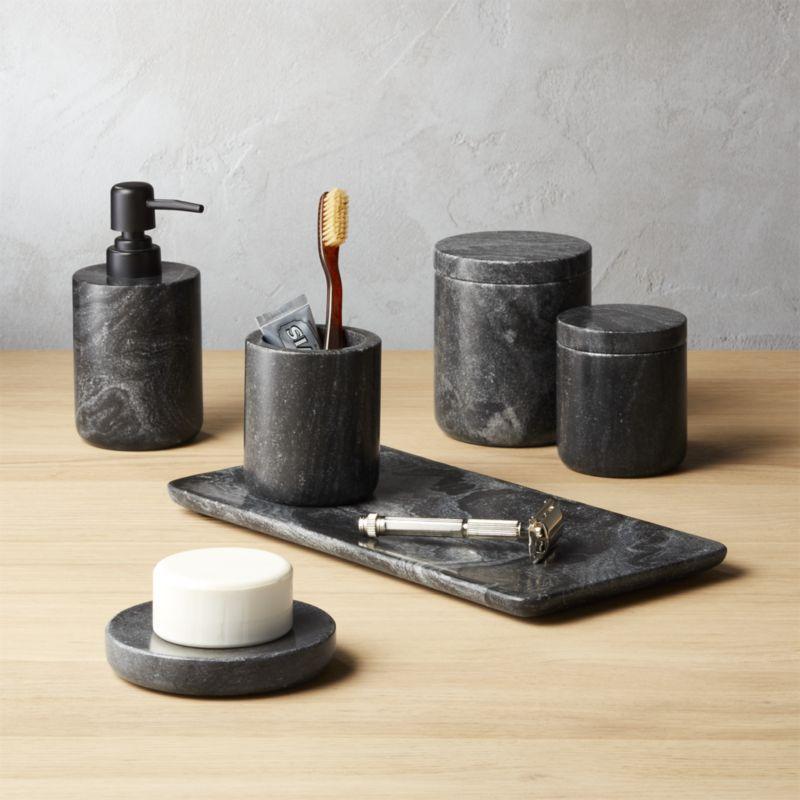 Shop Black Marble Bath Accessories Rich Black Marble With Subtle Grey Swirls Makes A Sleek Upgrade I Marble Bathroom Accessories Marble Bath Bath Accessories