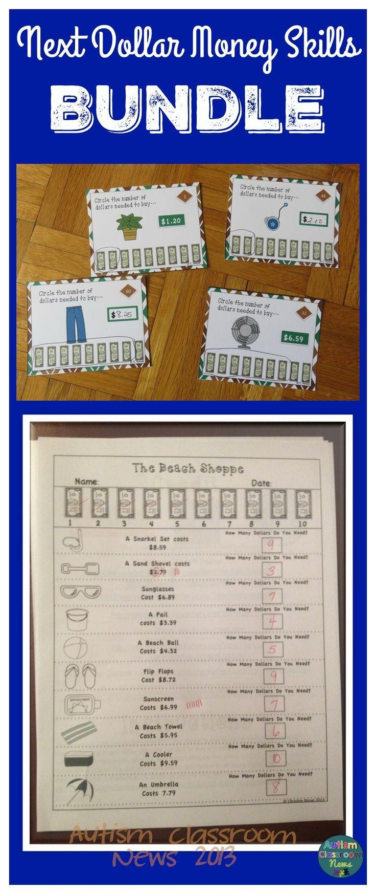 next dollar money skills bundle for special education task cards worksheets middle high. Black Bedroom Furniture Sets. Home Design Ideas