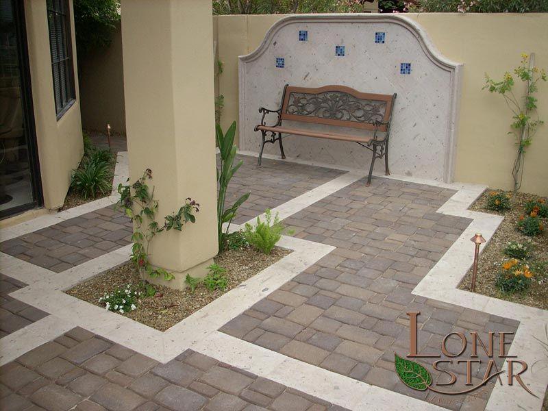 3 piece Pima blend pavers with cantera stone borders in Phoenix, AZ. -  www.lonestaraz.com - 3 Piece Pima Blend Pavers With Cantera Stone Borders In Phoenix, AZ