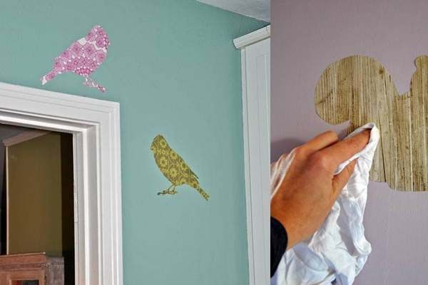 Elegant DIY Wall Decals From Wallpaper Scraps (we Have A Whole Book Of Samples  Someone Gave Us For Crafting)