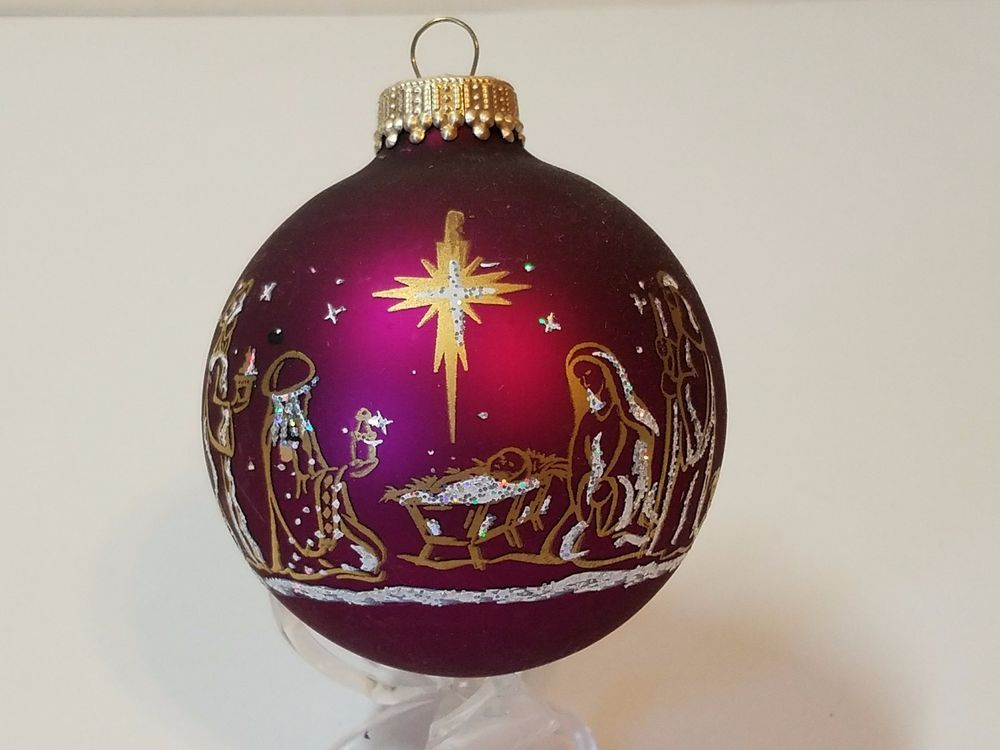 Vintage Christmas Tree Ornament Blown Glass Hand Painted