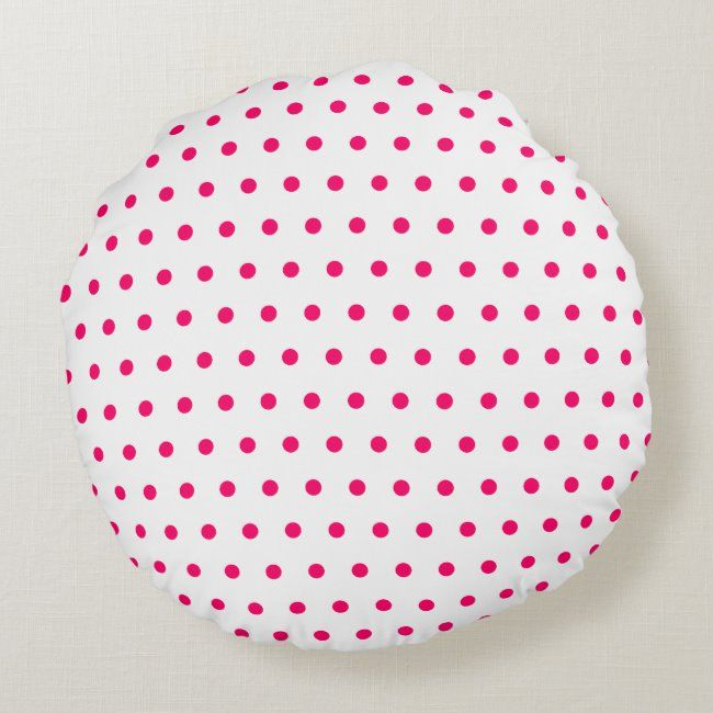 White and Bright Pink Polka Dots Round Pillow #dot #dots #dotted #pattern #bright #RoundPillow #pillow #pillows #cushion #cushions #bright #brightcolors #brightcolours #moderndecor