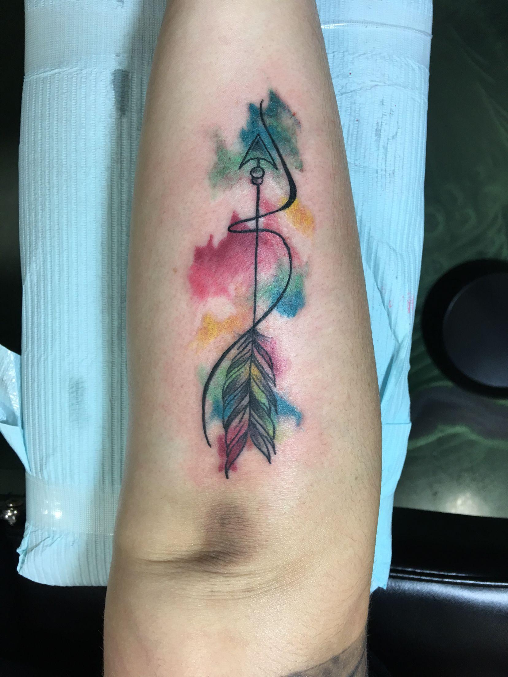 388e591f9df43 Arrow/Sagittarius tattoo | Tattoo stuff | Tattoos, Watercolor tattoo ...
