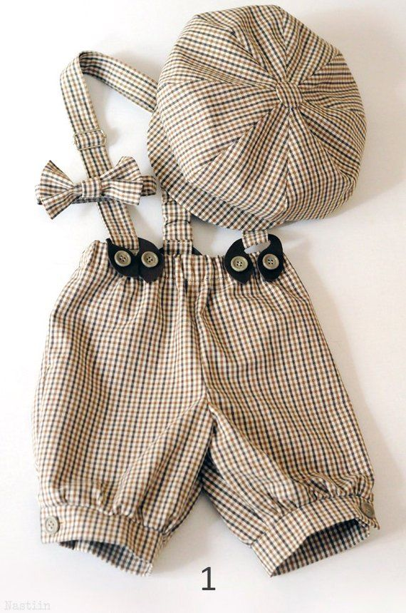 Toddler boy outfit beige Baby boy newsboy hat Tartan bow tie and suspenders Infant boy shorts Ring bearer outfit blue Baby boy photo prop
