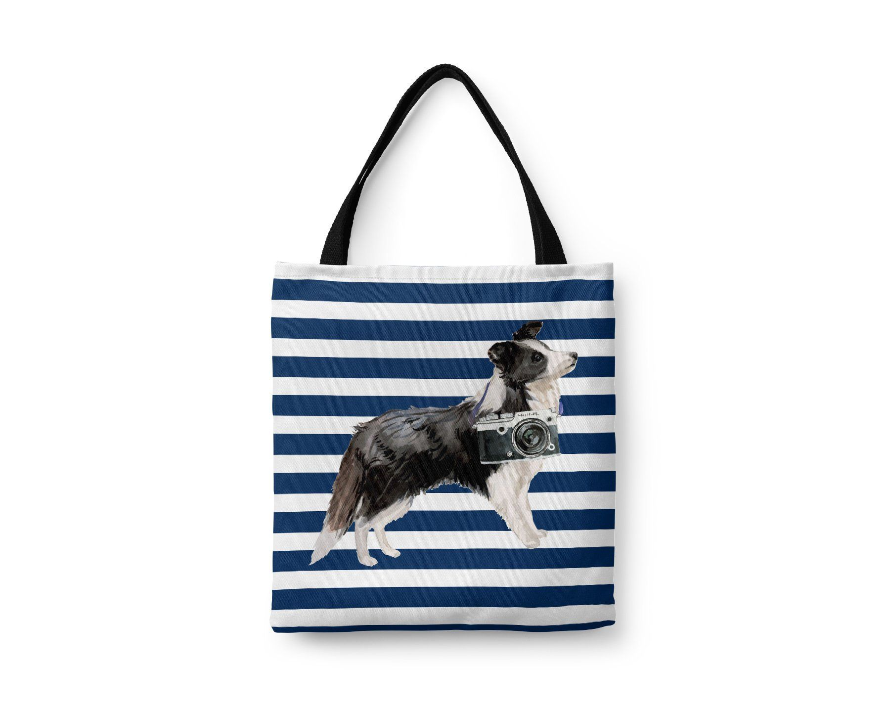 Border Rough White Collie Tote Bag Illustrated Dogs 6 Travel