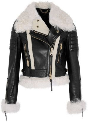 5a94241e3f Burberry Cropped Shearling-Trimmed Leather Biker Jacket | pinterest ...