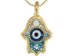 Orit Schatzman Silver Jewelry (Tm) Crystal 24k Yellow Gold Over Sterling Electroform Pendant