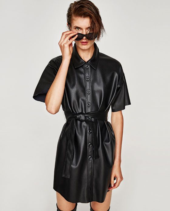 005b8a83828 Image 4 of FAUX LEATHER SHIRT DRESS from Zara