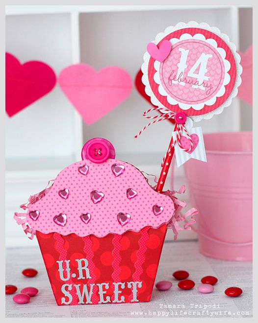 Valentine cupcake treat bag designed by Tamara Tripodi for