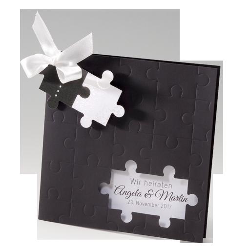 Hochzeitseinladungen Puzzle in Schwarz Weiß