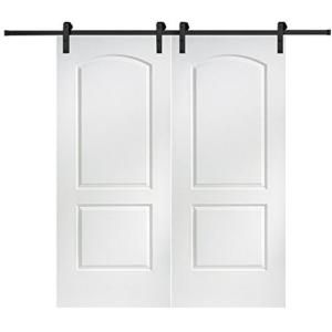 Mmi Door 60 In X 80 In Primed Molded Mdf Caiman Sliding Barn Door With Hardware Kit Z0364343 The Home Depot Glass Barn Doors Mmi Door Interior Barn Doors