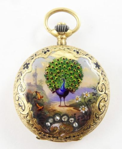 Antique c1900 diamond 14k gold hand painted enamel peacock ladies antique c1900 diamond 14k gold hand painted enamel peacock ladies pendant watch mozeypictures Images