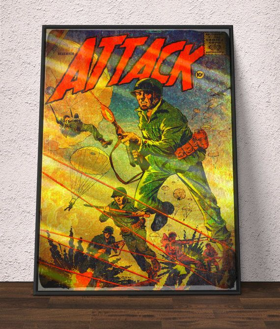 Comic Posters, Poster 24x36, Combat Art, Army Gifts For Him, War ...