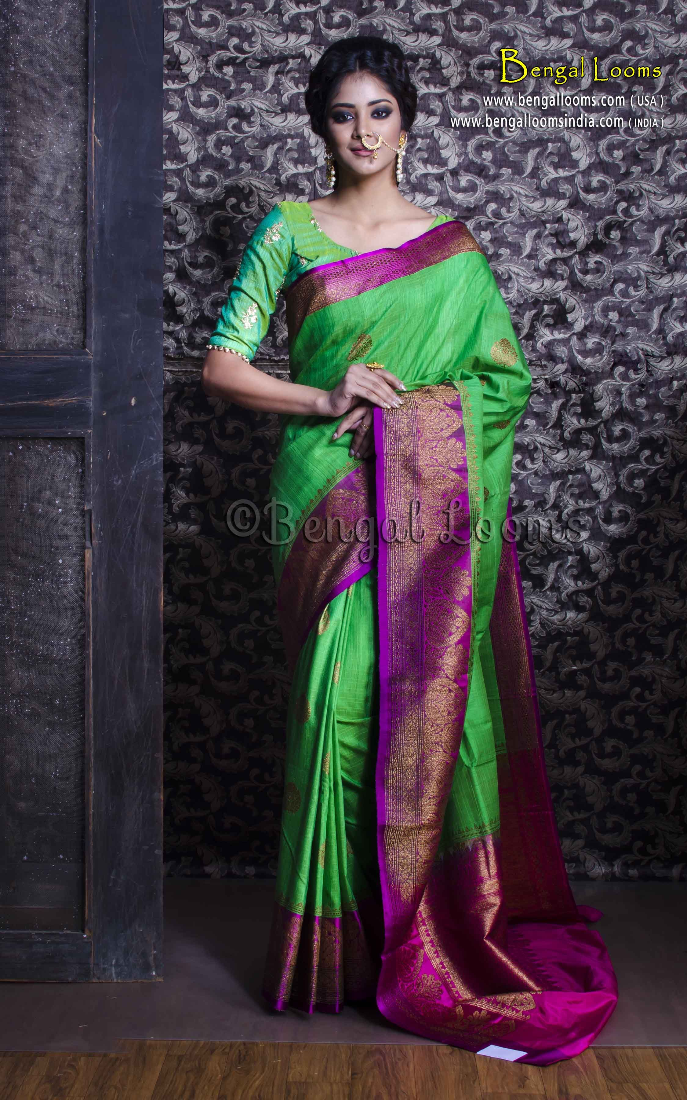 d97995451068d4 Pure Handloom Tussar Silk Banarasi Saree in Parrot Green and Purple ...