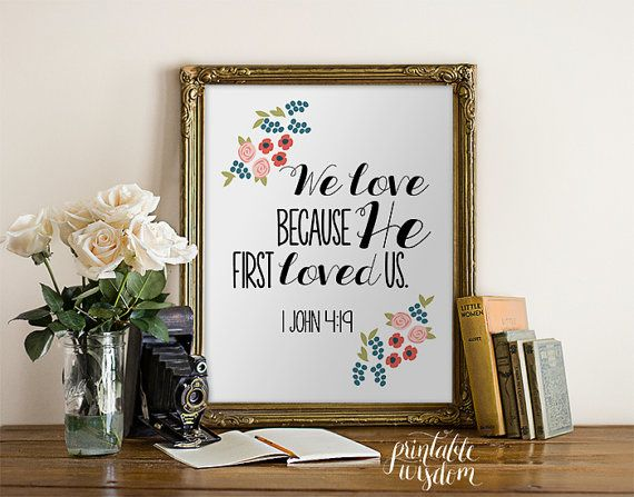 Instant download bible verse printable flowers scripture print
