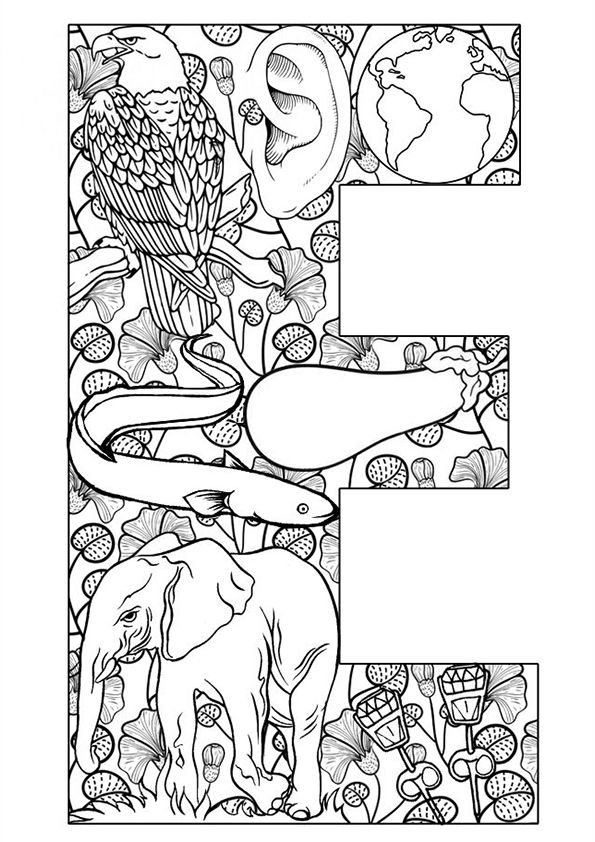 photograph about Free Printable Alphabet Coloring Pages for Adults called Coloring website page older people - Letter E Alphabet Coloring