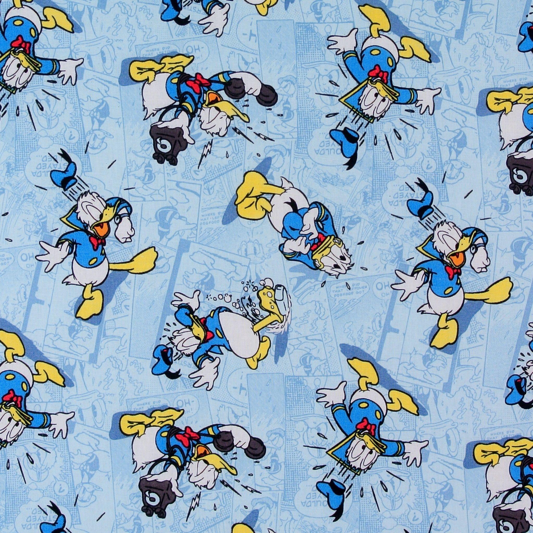 BonEful Fabric FQ Cotton Quilt VTG Walt Disney World Donald Duck Comic Block Boy