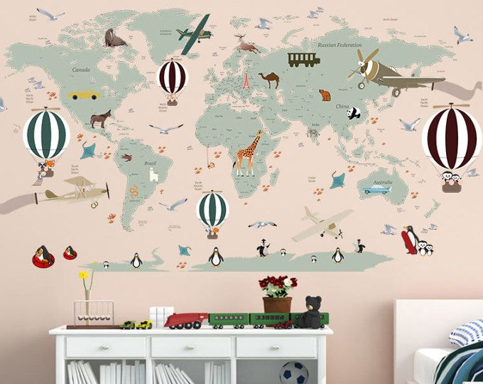 Airplane World Map Decal   Clear Vinyl Decal   Boys Room Decals   World Map  Mural   Hot Air Balloon World Map   Custom Name Map   Birds