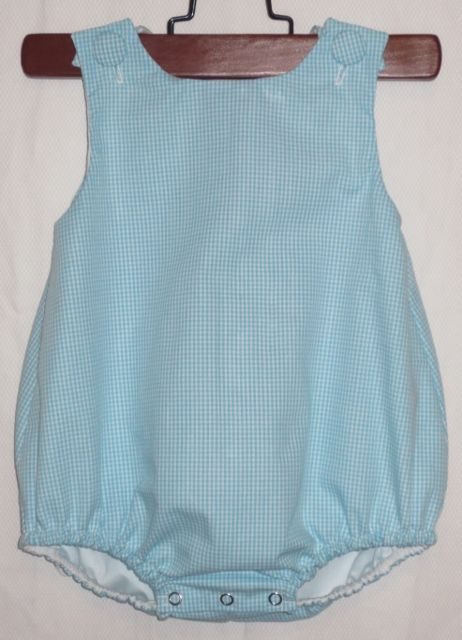 Gingham Baby Bubble Romper Monogram Embroidery Blank Ashley