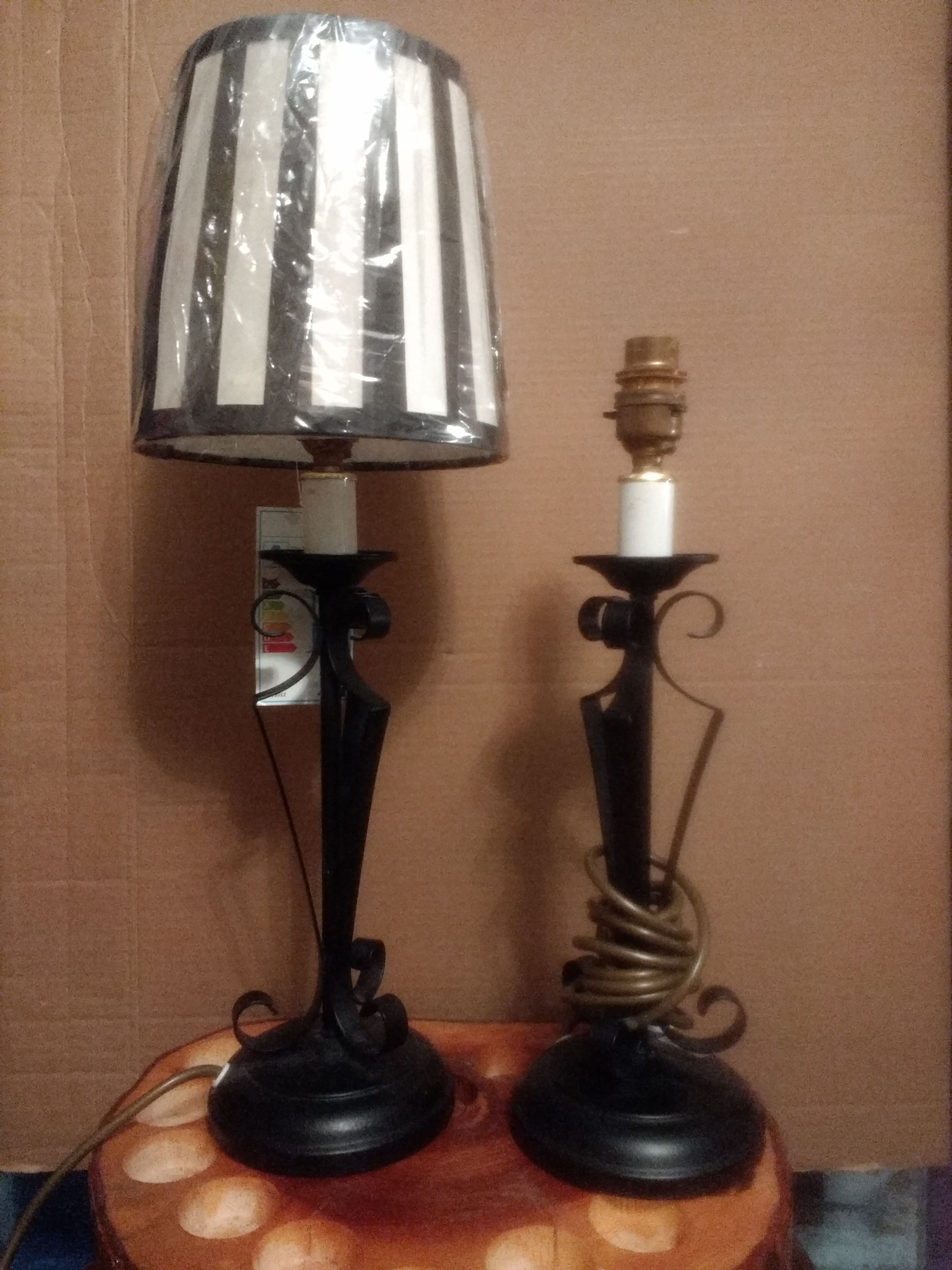 Classic Vintage 1920s Style Tudor Black Wrought Iron Table Lamp Size 15u201d  Base To Top Of Bulb Fitting