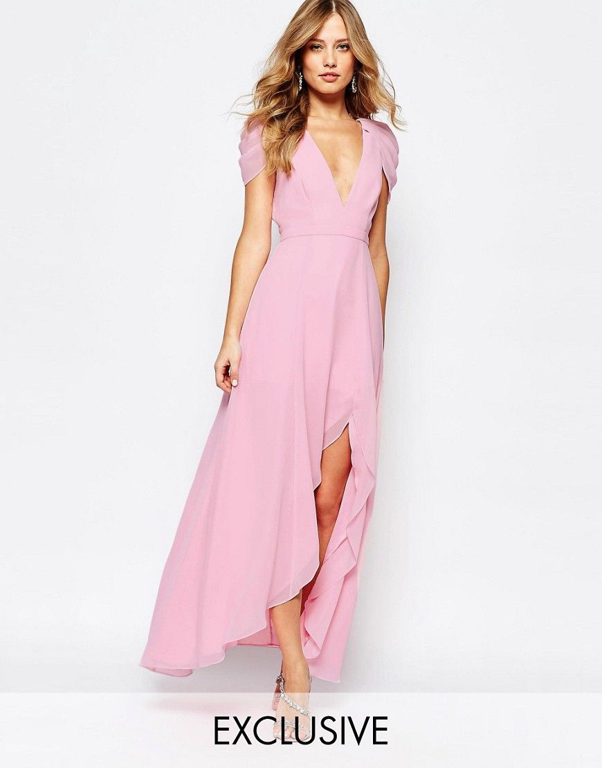 Image 1 of Fame and Partners Radiant Angel High Low Maxi Dress ...