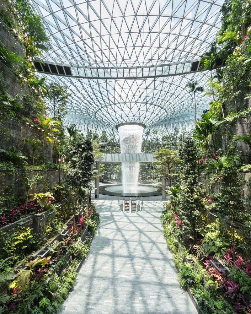 World Tallest Indoor Waterfall - #singapore #airport #green | Changi,  Changi airport singapore, Indoor waterfall